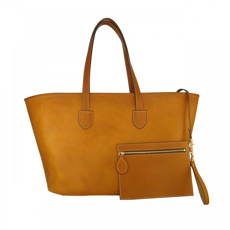 Large leather cabas tote bag