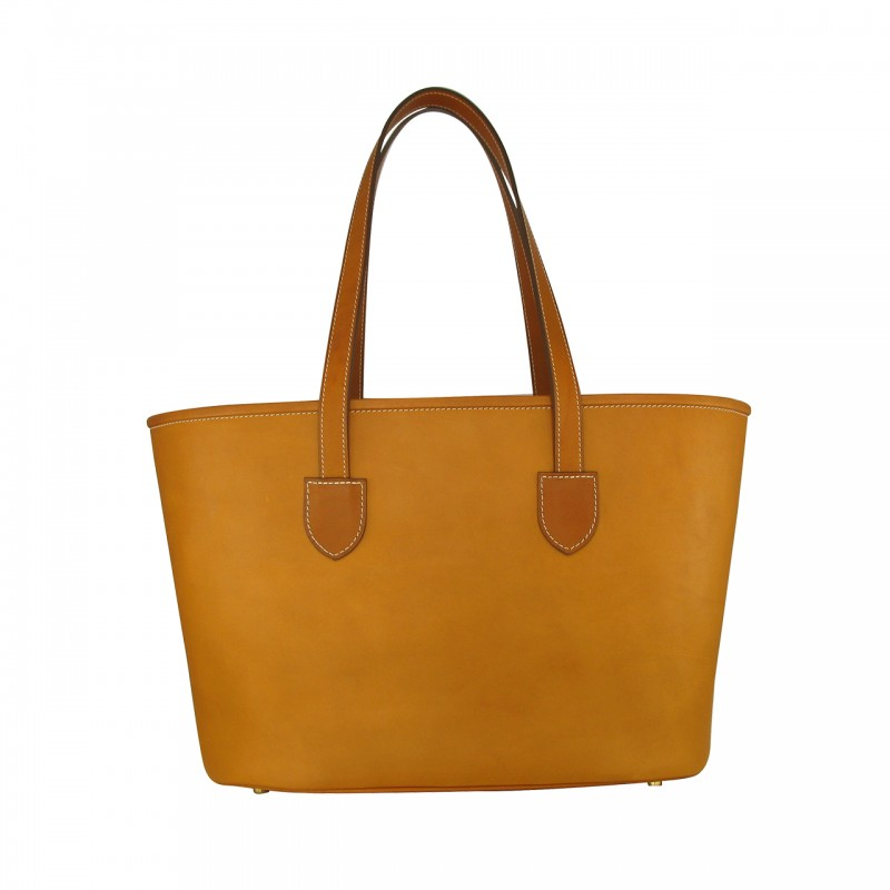 Small leather cabas tote bag