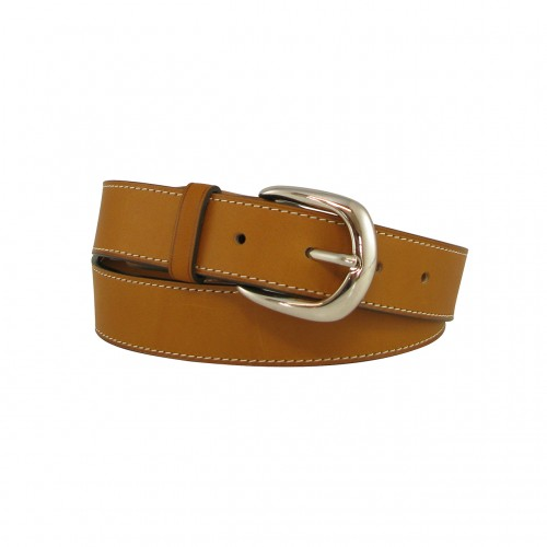 Leather belt 3 cm silver buckle