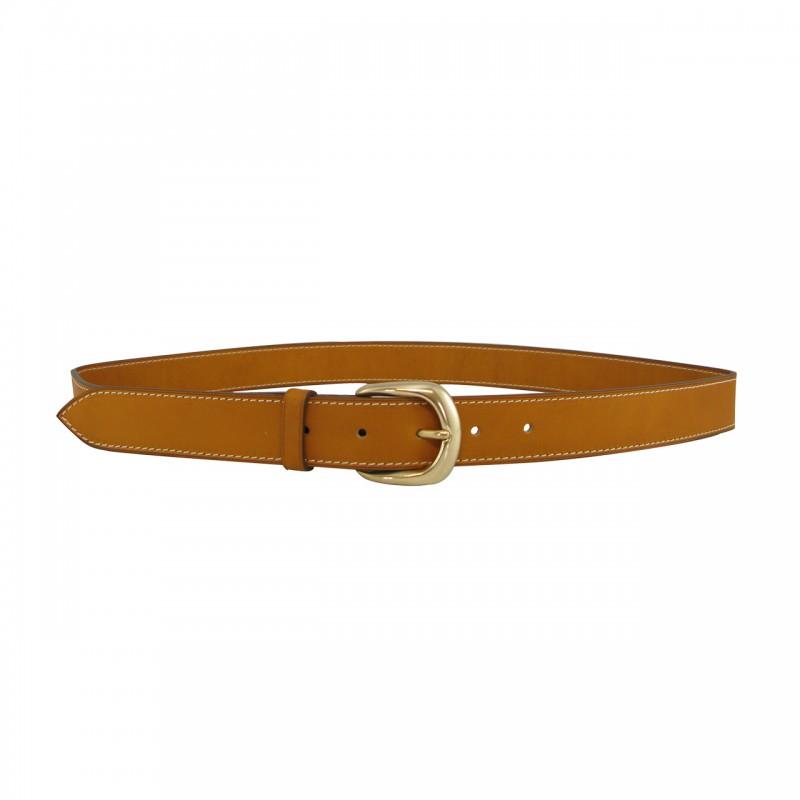 Leather belt 3 cm brass buckle
