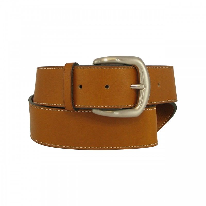 Leather belt 4 cm brass buckle