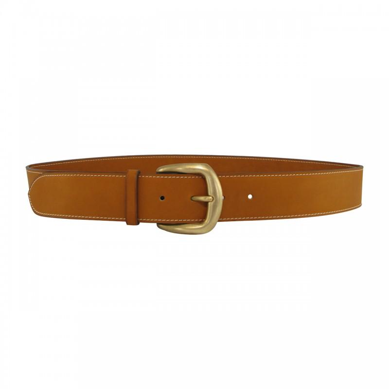 Leather belt 4 cm brass buckle